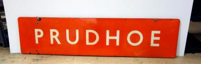 "Authentic English Railroad Railway Train Station Sign From The City Of Prudhoe, England, Enamel on Metal Sign, Approx 83""W x 20""H"