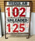 "Gas Price Sign With Metal Grate Back And Enamel Numbers And Letters 56""H x 37""W, With Extra Numbers, May Advertising Corp, TX,"