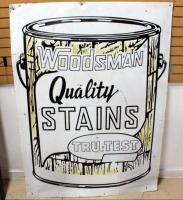 "Woodsman Quality Stains Tru-Test Enamel Advertising Sign 65.5""H x 48""W"