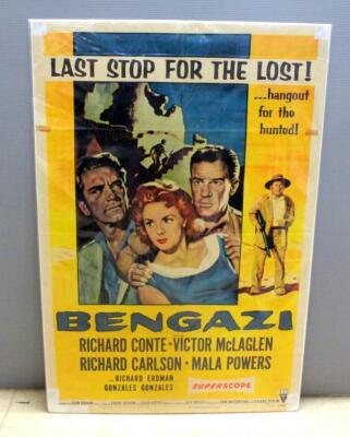 "1955 Bengazi: Last Stop For The Lost With Richard Conte And Mala Powers, Original RKO Radio Picture Poster 41""H x 27""W"