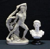 """Hercules and Lichas"" By Antonia Conva Resin Reproduction, 5.5""W x 10.5""H and Resin Bust of C. Augustus, 4""W x 6.5""H"