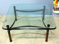 "Heavy Beveled Glass Top And Brass Bottom Coffee Table 16.5""H x 35.5""W x 35.5""D"