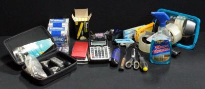 Office Supplies Including Calculators Batteries Tape Tools And More Contents Of Box