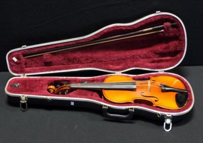 Karl Knilling German Made Violin, Model 10FA With Bow And Hard Case, Cracked
