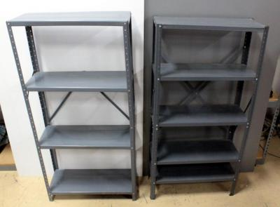 "Metal Shelves, Qty 2, 61.5""H X 30""W X 12""D and 59.5""H x 30""W x 11.5""D"