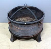 "Circular Firepit With Wire Mesh Top, 26""D x 17""H"