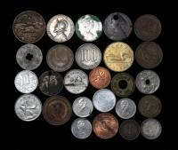 (10) 1949 German Pfennings, 1861 Great Britain 1/2 Penny, Century Sears Coin, Colorado Sales Tax Token. Amusement Park Token, More!