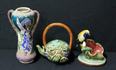 Heavy Clay Bird Vase And Grape Vine Tea Pot And More
