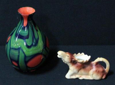 Czechoslovakia Moose Creamer And Blown Glass Vase