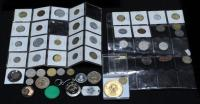 1885 Braided Hair Half-Cent, 1958 3-Penny Set, Gettysburg Medallion, Tokens, 37 Foreign Coins, Includes Chile, Germany, U.K., Mexico And More