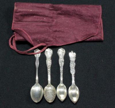 Sterling Silver Souvenir Spoons, Qty 3 And Sterling Silver Monogrammed Spoon