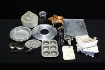 Assortment of Kitchen Items, Includes Baking Sheet, Jello Mold, Muffin Pan, Hand Mixer, Glass Canister, Doilies, Sugar Sack, Table Linens