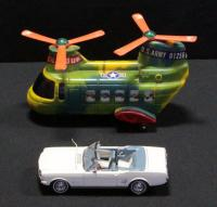 1970s Battery Operated Chinnok Toy Helicopter With Deployable Tank And Danbury Mint 1966 Ford Mustang Diecast Car