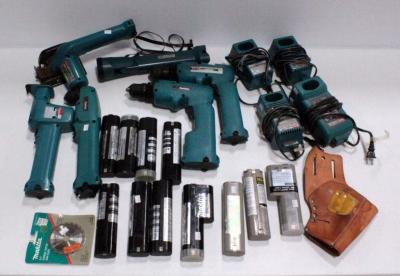 Makita Tool Set Includes- (2) Drills, Reciprocating Saw, Angle Drill, Circular Saw, Flashlight, Bolen Cordless Drill Holster, (4) Battery Chargers