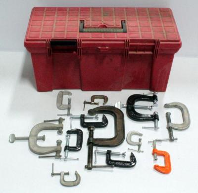 Toolbox With Assortment Of Clamps, See Photos