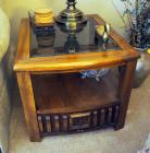 "Matching Solid Wood End Tables With Beveled Glass Top And Single Drawer, Qty 2, 18.5"" x 21"" x 27"" , Contents Not Included"