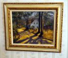 "Framed Original Canvas Painting Signed By M. Lyon 1978, 73"" x 27"""