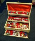 Vintage Tiered Jewelry Box With Drawer Includes Costume Jewelry, Ear Rings, Necklaces, Brooches, Pins And More