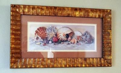 "Brass Like Table Lamp, 18"" Tall And Framed Sea Shell Wall Art, 17"" x 29"""