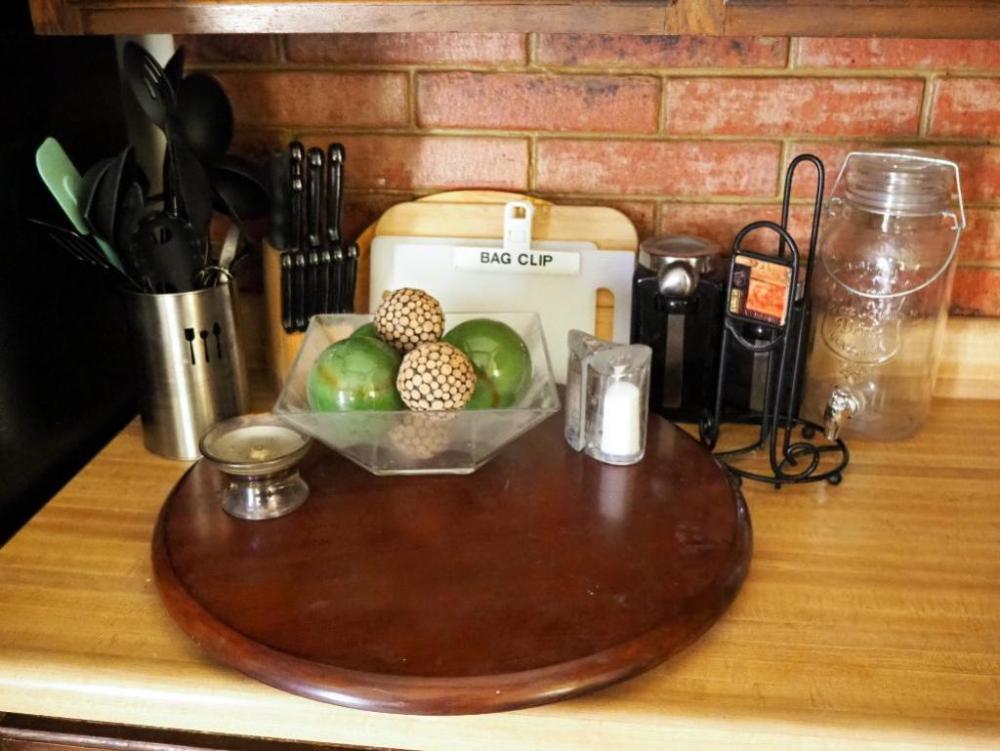 22 Round Wood Lazy Susan Master Chef Knife Set Cooking Utensils