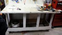 "Custom Wood Work Bench, 36"" x 72"" x 30"", Bidder Responsible For Proper Removal"