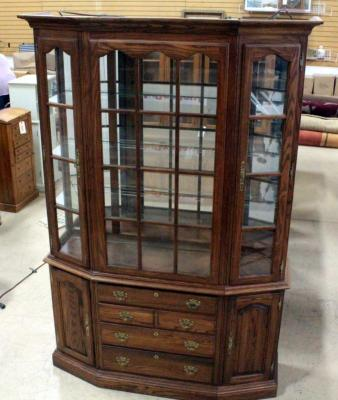 "Tell City China Cabinet, Lighted, 3 Glass Shelves, 4 Drawers, 2 Side Compartments 52""W x 81.75""H x 16""D"