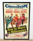 "1958 How To Marry A Millionaire Movie Poster Print, Marilyn Monroe Betty Grable Lauren Bacall Framed 28""W x 41""H"