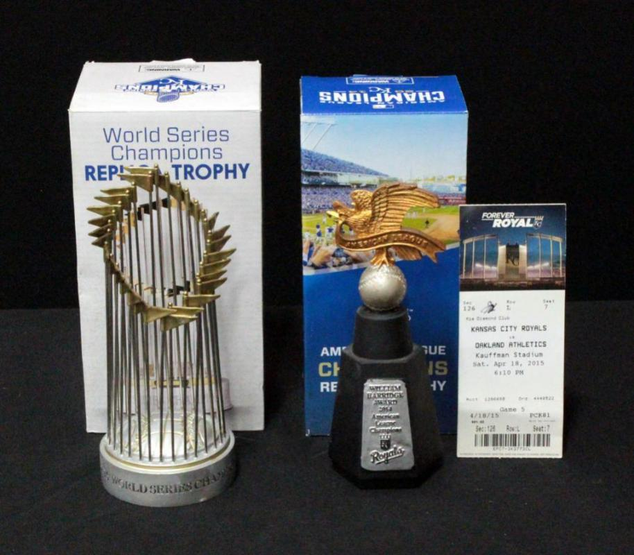 Lot 2832015 World Series Champions Replica Trophy And 2014 American League Champions Replica Trophy Both In Original Boxes