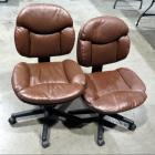 Leather Like Upholstered Adjustable Rolling Office Chairs, Qty 2,