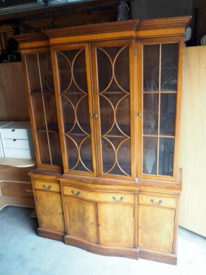 "Genuine Mahogany China Cabinet With 3 Drawers, 4 Cabinets And 2 Display Shelves, 78.5"" x 55.5"" x 17"", One Piece Unit"