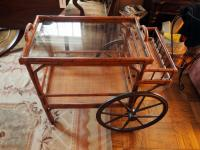 "Woven Bamboo Rolling Service Cart, 32"" x 36"" x 22"""