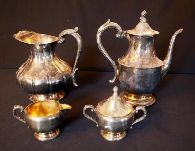 Sheffield Silver CO Pitcher And WA Rogers Coffee Pot With 1881 Cream And Sugar