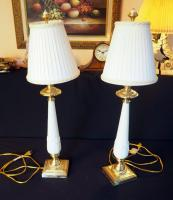 "Lennox Brass And Porcelain Matching Table Lamps With Shades, Qty 2, 31"" Tall"