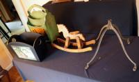 Wood Magazine Rack With Wood Kindling Box, Solid Wood Miniature Rocking Horse And Cast Iron Rolling Legs