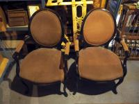 Formal Suede Upholstered Parlor Chairs With Oval Backs, Qty 2, Arm Loose On 1