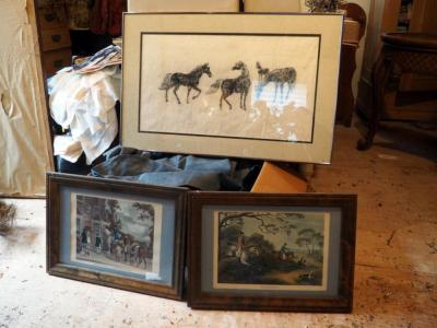 "Wood Framed And Matted, Fox Hunting Scenes Prints, 15"" x 21"" And More Qty 3"