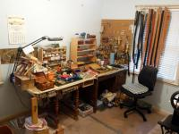 Desk, Cabinet and Contents of Both Including Leather Work Tools, Stamps, Punches, Belt Blanks, Stitching, Dyes, HUGE Lot of Accessories PREVIEW / PICKUP IN GRANDVIEW 4/3 & 4/4 BY APPT