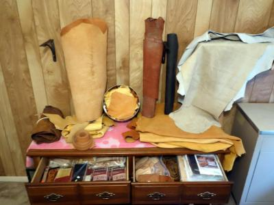 Leather Rolls, Pieces, Suede, Remnents, Checkbook Kits, Belts, All Contents and Top of Dresser, Dresser Not Included / PREVIEW / PICKUP IN GRANDVIEW 4/3 & 4/4 BY APPT