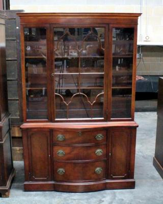 "Duncan Phyfe China Cabinet With Accent Door, One Piece, Dovetail Construction, 3 Shelves In Hutch, 3 Drawers, 2 Side Cabinets 46.25""W x 71""H x 16""D"