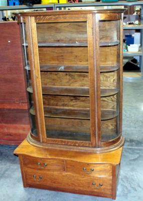 "Victorian China Cabinet, 5 Shelf Hutch With Curved Glass Sides, 3 Drawer Base, Marriage Set, 44.5""W x 74.5""H x 21""D"