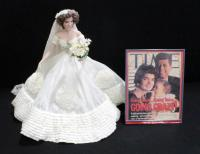 "Jackie Kennedy Bridal Doll With Wedding Dress 16""H Porcelain And Framed May 6, 1996 Edition Of Time Magazine Featuring Kennedys"