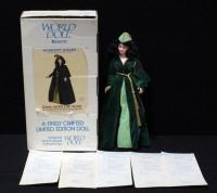 "World Doll Scarlett O'Hara In Green Velvet Portieres Dress, 19""H With COA In Box"