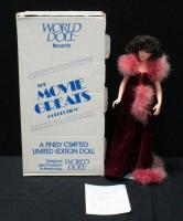 "World Doll Scarlett O'Hara In Burgundy Velvet With Maribu Trim And Sequins, Numbered 484/1500, 19""H With COA In Box"