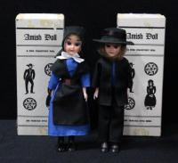 "Doll Associates Amish Woman And Man, Sleepy Eyes, 7.5""H In Original Boxes"