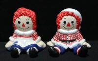 "Bobbs Merrill Company Raggedy Ann And Andy Ceramic Figurines 4""H"