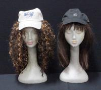 Motown Tress Wig With Straight Hair, Roma Lee Wig With Curly Hair And Two Adjustable Size Baseball Caps