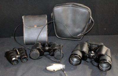 Binoculars Including Sears Model 6204 7x50 In Case, Winfield SZ-735 7x35 140m at 1000m In Case, Nikon Travelite III And Vivitar Monocular