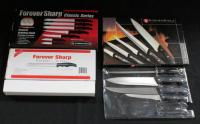 Forever Sharp Classic Series Kitchen Knife Set (1 Missing) And Kuchen Stolz Cutlery Set Has 3 Knives And Sharpener