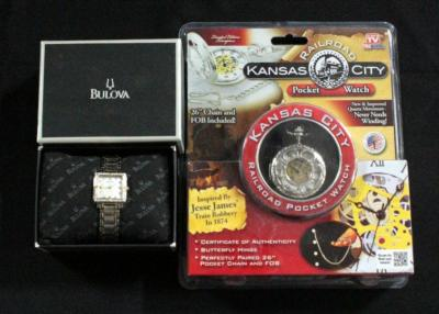 Ladies' Bulova Diamond Accent Two-Tone Watch with Square Mother-of-Pearl Dial Model 98R112 And Kansas City Railroad Pocket Watch Unopened