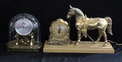 Kundo Anniversary Clock And United Brass Electric Clock With Horse, Powers On